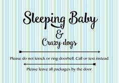 Sleeping Baby Door Sign by FlightyPines on Etsy https://www.etsy.com/listing/515654905/sleeping-baby-door-sign