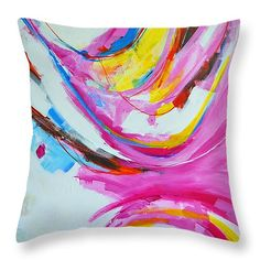 """Serendipity 2 Abstract Painting Throw Pillow 14"""" x 14""""  #throwpillow #homedecor"""