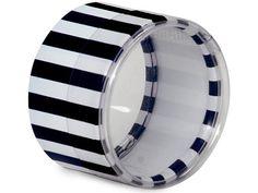 6 Mini Round Stripes Favor Boxes in Black