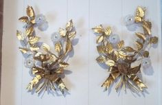 Pair of Mid Century Gold Italian Wall Sconces With Opaline Gold Murano Chandelier Flowers Designer Set of Italian Candle Sconces DD 1094 by donDiLights on Etsy