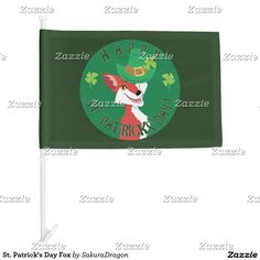 St. Patrick's Day Fox Car Flag #fox #stpatricksday #irish #green #clover