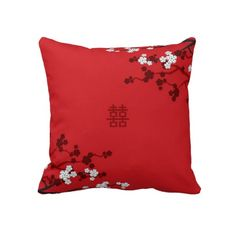 Cherry Blossoms Double Happiness Chinese Wedding Throw Pillow Cushion Home Decor Custom Gift by fatfatin Cherry Blossom Theme, Cherry Blossoms, Custom Pillows, Decorative Throw Pillows, Chinese Wedding Decor, Daisy Wedding, Dream Wedding, Pink Crown, Event Planning Tips