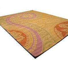 @Overstock.com - Hand-tufted Tirana Abstract Wool Rug (4' x 6') - A stunning Oriental pattern highlights this hand-tufted wool rug. This area rug features shades of yellow-gold, green, lavender, rust red and beige.  http://www.overstock.com/Home-Garden/Hand-tufted-Tirana-Abstract-Wool-Rug-4-x-6/5035975/product.html?CID=214117 $114.74