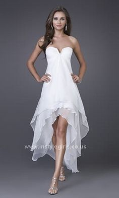 strapless chiffon short prom dress with high low skirt and jewel ...
