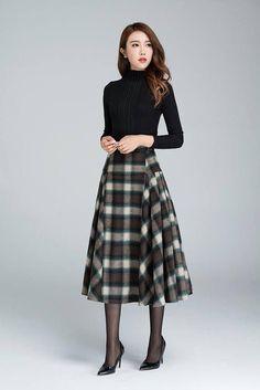 Vintage plaid skirt Wool skirt tartan skirt winter skirt Vintage Skirt long plaid skirt womens skirt Christmas gift by xiaolizi Long Plaid Skirt, Plaid Wool Skirt, Plaid Skirts, Wool Skirts, Plaid Fabric, Tartan Plaid, Tartan Skirt Outfit, Winter Skirt Outfit, A Line Skirt Outfits