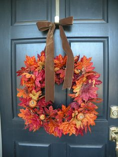 Square Autumn Leaf and Pumpkin Thanksgiving Fall by Daulhouseshop, $75.00