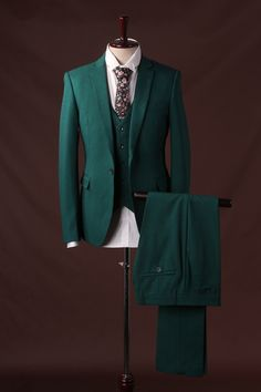Aliexpress.com : Buy Green Solid Color Three Piece Business Formal Suit for Male Autumn New Fashion Wedding Party Groom Tuxedos from Reliable suit cotton suppliers on oscn7 Store