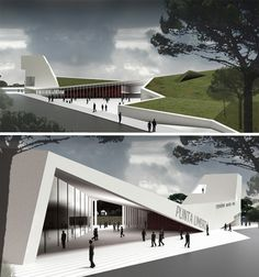 Green and modern fair & exhibition space at the punta umbria pavilion Architecture Design, Concept Architecture, Landscape Architecture, Building Architecture, Pavillion, Library Design, Modern Buildings, Exterior Design, Google Search