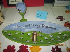 The Lord is my Shepherd - lambs are fingerprints Group Art Projects, Class Projects, Pottery Painting, Painted Pottery, School Auction Projects, Fingerprint Art, Footprint Crafts, Paint Your Own Pottery, Lord Is My Shepherd