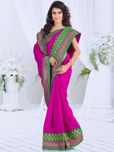 Pink Bhagalpuri Saree With Stone Work