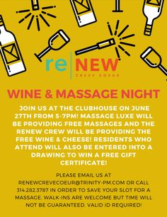 Mark your calendars! Join us on June in the Clubhouse for relaxing massages, provided by Massage Luxe, and some delicious wine and cheese. You could even win a gift certificate to Massage Luxe! Pet Friendly Apartments, Certificate, Massage, June, Relax, Friday, Cheese, How To Plan, Learning