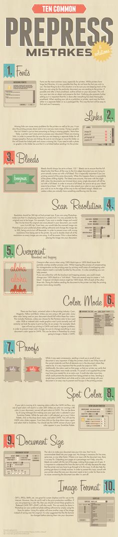 Student Work - Creative display of 10 common prepress mistakes and also solutions. Each graphic was specifically illustrated to depict that particular mistake using screenshots. Graphic Design Tips, Graphic Design Typography, Graphic Design Illustration, Layout Design, Print Design, Web Design, Portfolio Resume, Printing Press, Art Graphique