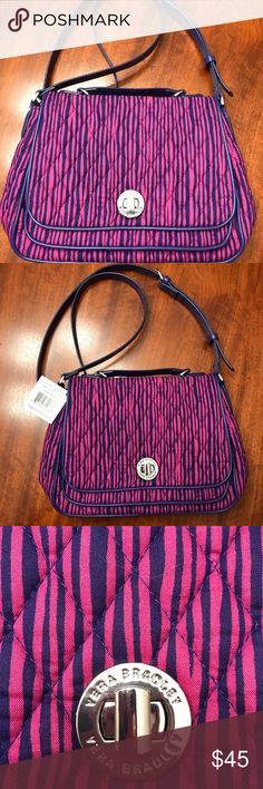 Vera Bradley Vera Bradley Turnlock Crossbody in Impressionista Stripe pattern (a pink/purple with a darker purple/blue). Measurements are approximate. This bag is NWT! Description from the Vera Bradley website: a sophisticated take on the classic crossbody, this classy style features a ladylike top handle, a polished turnlock detail and forever-chic faux-leather trim. Inside, you'll find a roomy main compartment with one zip and two slip pockets. The back slip pocket is the perfect place to…