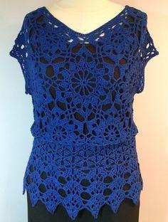 "Ravelry: Kathy7661's Andromeda Peplum Vest (pattern is in Doris Chan's book). Yarn: DesigningVashti Lotus in color ""Sapphire."""