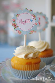 Blue Floral Shabby Chic Tea Party Cupcake by twinklelittleparty