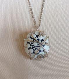 Unique Mandala Necklace White  Stone Pebble by CreateAndCherish
