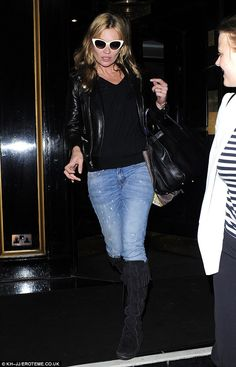 Kate Moss spotted in her favorite pair of Minnetonka Front Lace Knee Hi Boots