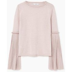 MANGO Flared sleeves sweater (280 PLN) ❤ liked on Polyvore featuring tops, sweaters, round neck sweater, pleated top, long bell sleeve tops, pink knit sweater and pink top
