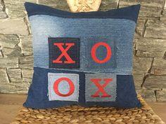 Denim XOXO Pillow , Hugs And Kisses , Decorative Pillow , Denim Throw Pillow , Embroidered Pillow , Denim Sham Pillow , Valentine's Pillow by SecondBirthday on Etsy