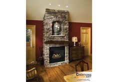 Cultured Stone Chardonnay Southern Ledgestone Fireplace with Wiarton Natural Stone on niche background.
