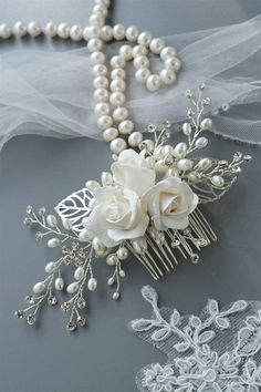 This item is unavailable Wedding Hair Clips, Headpiece Wedding, Bridal Headpieces, Bridal Comb, Wedding Hair Flowers, Flowers In Hair, Rose Wedding, Flower Hair Accessories, Wedding Hair Accessories