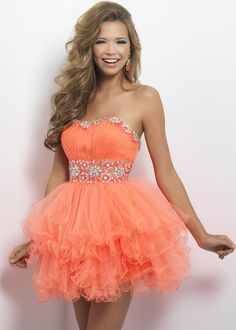 Blush Prom 9664 Strapless Party Dress - Sexy in ruffles! Swirls of beads separate your ruched bust from cascading layers of gorgeous tulle.