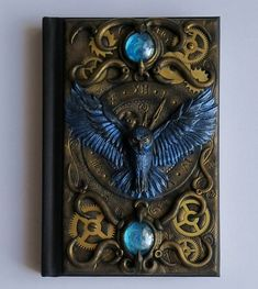 Buy Now Blue Owl. polymer clay journal, 196 blank pages, steampunk by ClaymanPL USDIt's a unique notebook with handmade polymer clay cover. Steampunk Book, Steampunk Crafts, Polymer Clay Steampunk, Steampunk Theme, Gothic Steampunk, Steampunk Necklace, Steampunk Clothing, Victorian Gothic, Steampunk Fashion