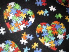 Autism Logo Puzzle Pieces in a Heart with by CutnTiedbyRedYvette ...Autism Logo Puzzle Pieces in a Heart with Red Couch Throw - Ready to Ship Now