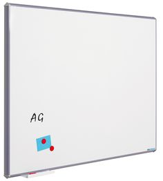 Whiteboard Silverline. Whiteboard of coated steel with grey synthetic corners. Modern look with grey edges. Including pen tray.