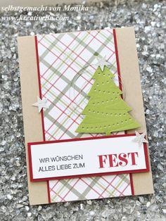 selbstgebastelte Weihnachtskarte schnell und einfach O Tannenbaum Framelits Winterliche Weihnachtsgrüße Stampin' Up! München Glitzersterne