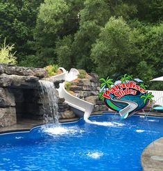 Here is another great looking project by @Landmasters Landscape Design and Construction in NY. This is a Paradise Slides, Inc. #PoolSlide Model PS21R-S in Platinum. #ResidentialWaterSlide #WaterSlide #WhatsInYourBackyard! Water Slides, Pool Slides, Landscape Design, Swimming Pools, Paradise, Construction, Backyard, Outdoor Decor, Model
