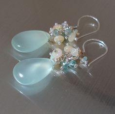 Opal Chalcedony Earrings Ethiopian Opal Aqua by JewelryByJacoby,