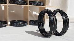 ticoloro bracciale in carbonio nero con catene in ag925 rodio classico e nero