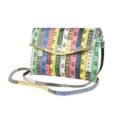 Upcycling Recycling Clutch Umhängetasche Handtasche aus Maßband (klein)