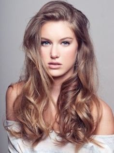 25 Light brown hair color and balayage ideas   Light Brown Hair color is very much in vogue in so in this article we offer you useful information about which nuances are most up-to-dat. Hair Styles 2014, Curly Hair Styles, Long Wavy Hair, Long Curly, Thick Hair, Straight Hair, Long Bangs, Long Locks, Light Brown Hair