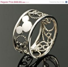 ON SALE Mickey Mouse Ring - Filigree Ring - Disney Ring - Men's Ring - Thumb Ring - Argentium Sterling Silver - Handmade