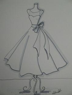 x Custom Wedding Dress Illustration croquis Dress Design Drawing, Dress Design Sketches, Fashion Design Sketchbook, Fashion Design Drawings, Sketch Design, Fashion Illustration Sketches, Fashion Sketches, Dress Drawing Easy, Art Sketchbook