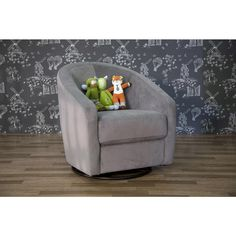 """This is a glider, swivel chair for a nursery---but I liked the idea of giving you a chair with some movement.  It is small but still comfortable according to the reviews.  The grey microsuede would wear well---and would be easy to coordinate with a fabric for the love seat.  Babyletto Madison City Swivel Glider - Slate Microsuede - Babyletto - Babies """"R"""" Us"""