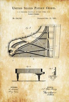 Steinway Piano Frame Patent - Patent Print, Wall Decor, Music Poster, Musical Instrument Patent, Piano Patent, grand piano patent