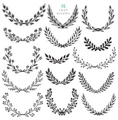 Branches, wreaths, wedding design by Fancy art on Creative Market - fleurs Ornament Drawing, Wreath Drawing, Mini Tattoos, Flower Tattoos, Tattoo Floral, Laurel Tattoo, Laurel Wreath Tattoo, Small Chest Tattoos, Corona Floral