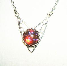 Art Deco DRAGONS BREATH Necklace CZECH GLASS MEXICAN FIRE OPAL Silver Plated   #KMEART