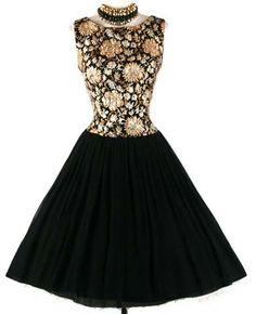 1950s Black Gold Brochade Party Cocktail Dress. Black crepe chiffon skirt * Gold brochade bodice * Acetate lining * Metal back zipper
