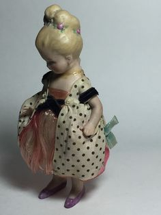 Antique German Bisque Doll Limbach Flower Girl P 71 Dollhouse Miniature 5 3 8"