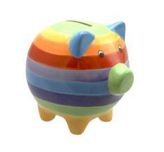 A Rainbow stripped ceramic piggy bank. Sarah B, This Little Piggy, Money Box, Paper Beads, Over The Rainbow, Ceramic Painting, Rainbow Colors, Color Splash, Piggy Banks