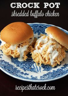 Crock Pot Shredded Buffalo Chicken Sliders by Recipes That Crock