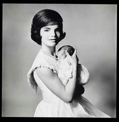 Jackie Kennedy and John, Jr. before the inauguration.