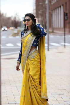 Get the latest trends ruling the charts in India. Sari Design, Sari Blouse Designs, Saree Blouse Patterns, Indian Attire, Indian Outfits, Indian Dresses, Saree Trends, Stylish Sarees, Elegant Saree