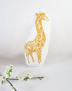 Giraffe Shaped Animal Pillow. Hand Woodblock Printed. Choose