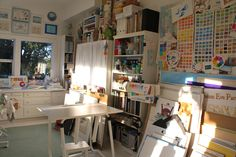 A multitude of odd and ends, found objects and old kitchen and bath fixtures make this studio function.