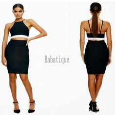 72513acfe21a 2017 Women Sexy Two 2 Piece Backless Black Spaghetti Strap Bandage Dress  Special Occasion Cocktail Club Patry Dresses Wholesale-in Dresses from  Women's ...